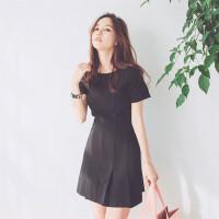 2018夏季新款韩版时尚女装显瘦修身收腰皱褶打底短袖连衣裙潮 黑色