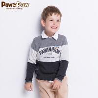 【3件4折 到手价:199】Pawinpaw卡通小熊童装新款秋冬男童卡通拼接套头毛衣