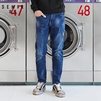 森马牛仔裤男小脚长裤男士2018新款韩版保暖青年牛仔裤子冬季潮流
