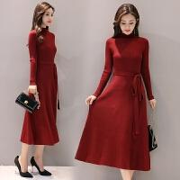 新款纯色毛衣裙子长袖修身长裙中长款打底针织连衣裙女秋冬装