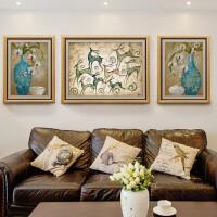 客厅装饰画沙发背景墙挂画美式壁画家居餐厅玄关墙画欧式油画SN6199 整套(中间110*85/左右65*85) 双框设