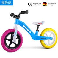 儿童平衡车无脚踏双轮1-6岁宝宝小孩滑行车 滑步车踏步车 OKGO充气撞色可爱蓝