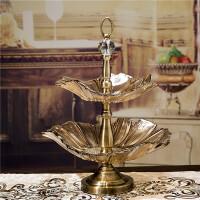 时尚奢华欧式果盘 创意双层玻璃现代简约水果盘 水晶客厅茶几摆件 葵花双层盘(160*80以上茶几)