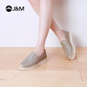 jm快乐玛丽帆布鞋夏季纯色平底松糕厚底套脚亮片休闲女鞋子51173W