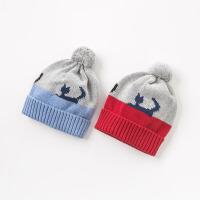 davebella戴维贝拉2018秋冬新款儿童针织卡通猫咪帽子DB8473