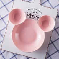 陶瓷分格盘卡通盘米奇盘儿童餐盘水果盘甜品盘烘焙烤盘�h饭碗
