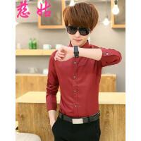 男士夏装短袖衬衫 时尚纯色韩版修身短袖衬衫男式衬衣 X