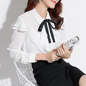 安妮纯2020新款春装很仙的上衣百搭洋气雪纺衫女荷叶边蝴蝶结系带小衬衫