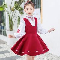 女童连衣裙秋装2018新款女洋气中大童春秋儿童衬衫背心裙两件套装