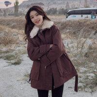 小棉袄女短款冬装流行宽松学生大毛领加厚棉衣工装外套潮