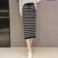 半身裙秋冬季2017新款女韩版时尚包臀显瘦中长款毛线一步针织裙子 均码