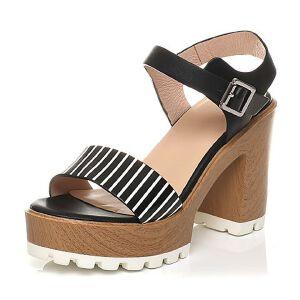 Tata/他她2017年夏季专柜同款小牛皮条纹高跟女皮凉鞋2W118BL7