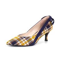 【券后价:239元】SATURDAYMODE 春季织物复古格子纹尖头蝴蝶结中跟时尚单鞋MD91111034