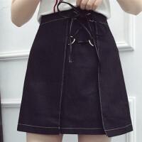 加大码女士高腰显瘦绑带包臀牛仔半身裙200斤胖mmA字韩版短裙春夏 黑色