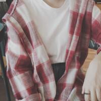 2017春装女装韩版显瘦中长款连帽格子长袖衬衫学生休闲上衣外套潮 均码(160/84A)