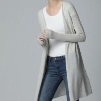 2018秋冬新款羊绒开衫 女 中长款 羊绒衫 宽松外套慵懒风针织衫