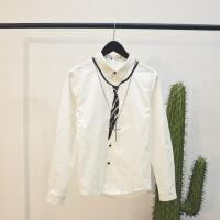 衬衫男长袖修身方领韩版秋冬新款个性印花领带男装衬衣潮