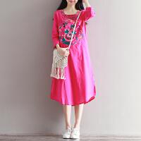 中国风连衣裙秋装新款文艺复古气质刺绣棉麻宽松长袍连衣裙女