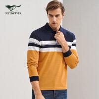 七匹狼T恤秋季青年男士时尚商务休闲纯棉条纹翻领长袖T恤