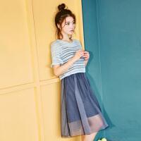 【领券满200减35 仅限今日】韩都衣舍2017韩版女装夏季新款中长款套装裙两件套连衣裙
