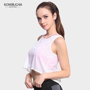 【限时特惠】KOMBUCHA瑜伽背心2018新款女士速干透气网纱背心罩衫健身跑步运动露脐背心K0216