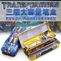 包邮韩国变形金刚创意三层汽车文具盒铅笔盒铁儿童学生男孩文具盒