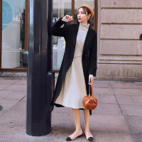 双面零羊绒呢子大衣2018秋冬季新款女装过膝高端毛呢外套JY_DY010