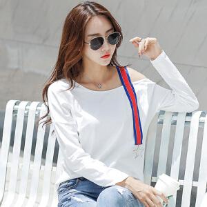 一字领半露肩t恤女长袖2017秋装韩版宽松显瘦白色露肩打底体恤衫