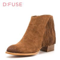 迪芙斯(D:FUSE)冬季专柜磨砂牛皮革复古流苏粗跟女短靴DF84116522