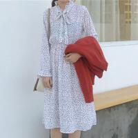 时尚学院风春季韩版女装百搭波点系带连衣裙修身套头长袖打底裙潮