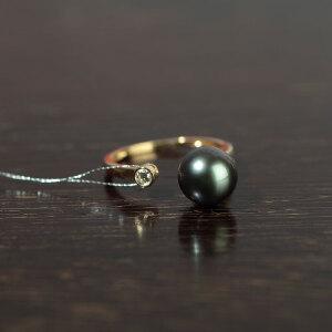 14k金镶嵌大溪地孔雀绿珍珠戒指
