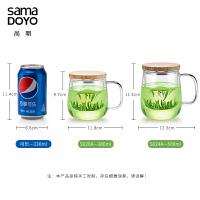玻璃茶杯过滤带把泡茶杯家用透明玻璃杯子办公室花茶杯