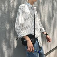 秋季港风条纹白衬衫男士韩版潮流长袖衬衣宽松休闲青少年外套冬装