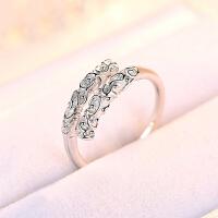 时尚心形镶钻戒指女s925银简约钻戒指环情侣开口戒指