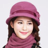 女帽秋冬礼帽中老年妈妈帽兔毛花朵厚保暖帽子冬季中年人老人