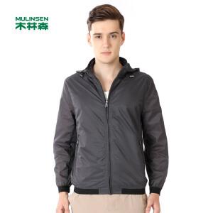 木林森服饰 新款时尚休闲男士简约连帽夹克运动防风舒适外套