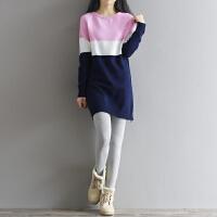 连衣裙秋冬装新款潮中长款毛衣套头长袖打底宽松女针织衫