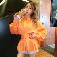 2018夏季新款韩版时尚气质收腰荷叶边裙摆泡泡长袖纯色T恤上衣女