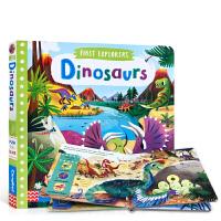 英文原版 First Explorers系列: Dinosaurs 小小探索家 恐龙 儿童史前生物知识科普 推拉滑动机