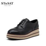 星期六(ST&SAT)2019年春季专柜同款牛皮革中跟圆头时尚女款牛津鞋SS91112107