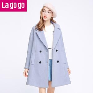 【618大促-每满100减50】Lagogo/拉谷谷2016年冬季新款时尚口袋双排扣呢子大衣