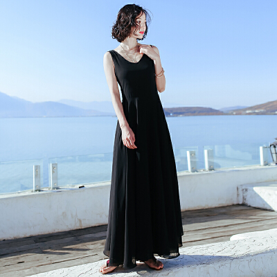 夏季新品女装露背裙子无袖雪纺连衣裙长裙波西米亚海边度假沙滩裙 黑色XZC509 发货周期:一般在付款后2-90天左右发货,具体发货时间请以与客服协商的时间为准
