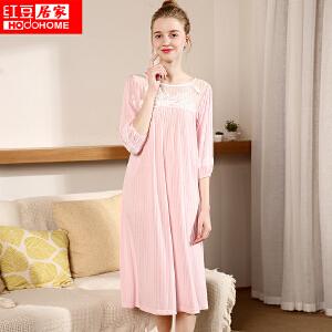 红豆居家家居服睡衣女新款中袖花边领蕾丝公主长裙