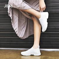 jm快乐玛丽运动鞋女2018春季新款网面透气套脚休闲鞋女鞋子76091W