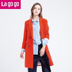 Lagogo拉谷谷2017春季新款直筒字母印花双排扣西装领中长款外套女