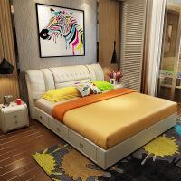 【限时直降 质保三年】现代致家头层皮拉点真皮软体床 803#1.8米1.5米卧室双人床婚床