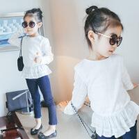 女童打底衫2018春装新款儿童圆领飞边上衣中大童棉T恤宝宝长袖衫