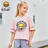 【4折价:95.6】B.duck小黄鸭童装女童短袖t恤夏装新款宽松潮熊猫印花短袖上衣BF2001950
