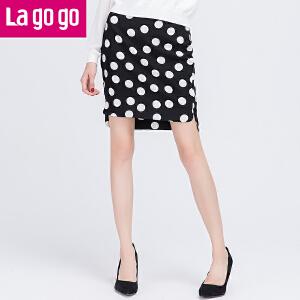 【每满200减100】Lagogo/拉谷谷新款高腰荷叶边圆点包臀半裙