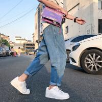 日系复古男士夏季牛仔裤学院风潮男九分裤韩版宽松哈伦裤2018新款